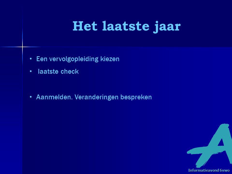 Vervolgopleidingen bron: www.schoolvo.nl Informatieavond 6vwo