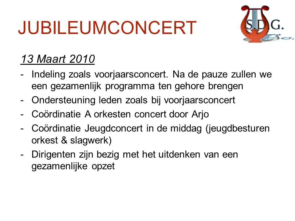 JUBILEUMCONCERT 13 Maart 2010 -Indeling zoals voorjaarsconcert. Na de pauze zullen we een gezamenlijk programma ten gehore brengen -Ondersteuning lede