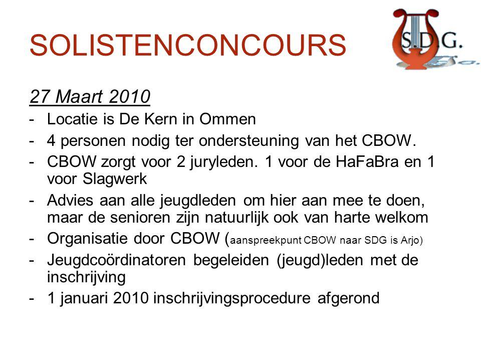 SOLISTENCONCOURS 27 Maart 2010 -Locatie is De Kern in Ommen -4 personen nodig ter ondersteuning van het CBOW. -CBOW zorgt voor 2 juryleden. 1 voor de