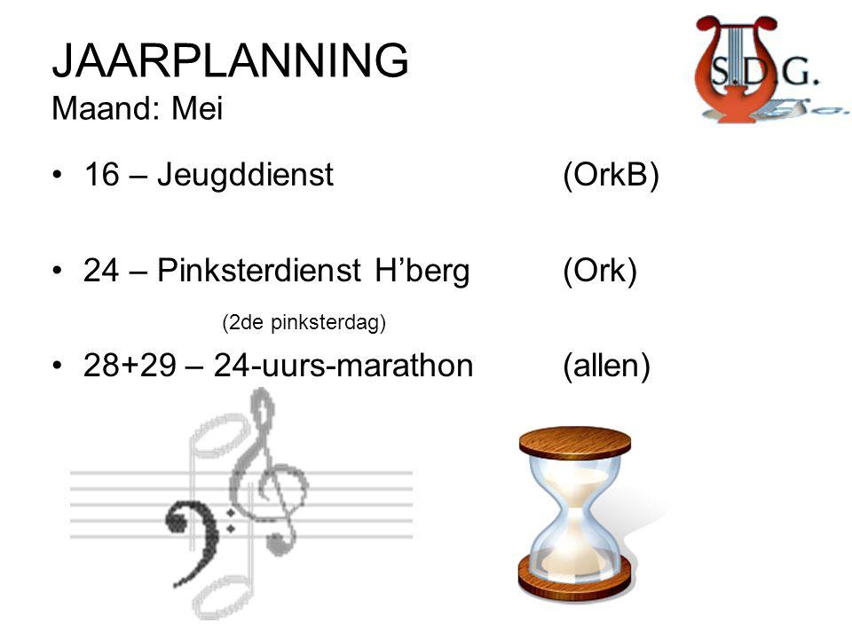 JAARPLANNING Maand: Mei •16 – Jeugddienst (OrkB) •24 – Pinksterdienst H'berg(Ork) (2de pinksterdag) •28+29 – 24-uurs-marathon(allen)