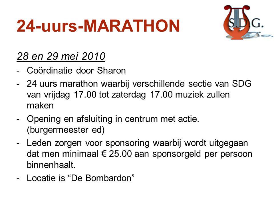 24-uurs-MARATHON 28 en 29 mei 2010 -Coördinatie door Sharon -24 uurs marathon waarbij verschillende sectie van SDG van vrijdag 17.00 tot zaterdag 17.0