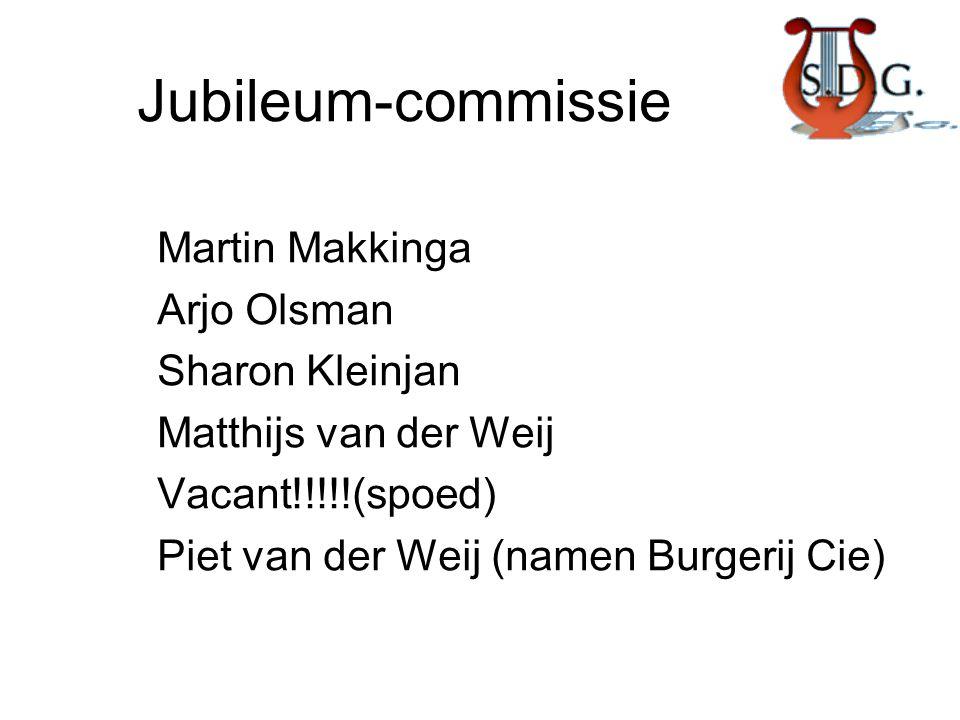 Jubileum-commissie Martin Makkinga Arjo Olsman Sharon Kleinjan Matthijs van der Weij Vacant!!!!!(spoed) Piet van der Weij (namen Burgerij Cie)