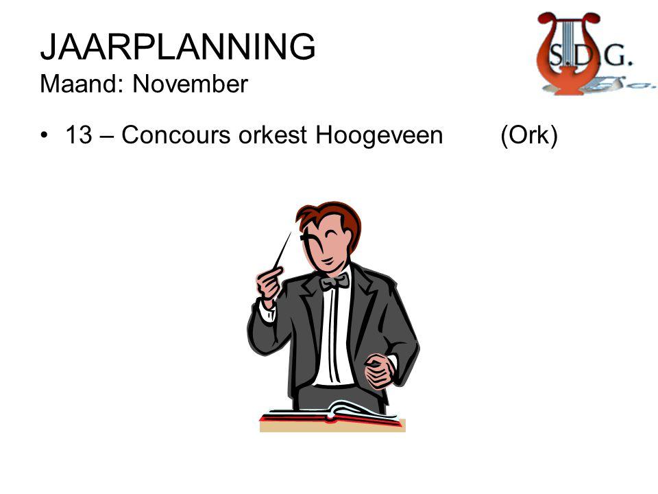 JAARPLANNING Maand: November •13 – Concours orkest Hoogeveen(Ork)