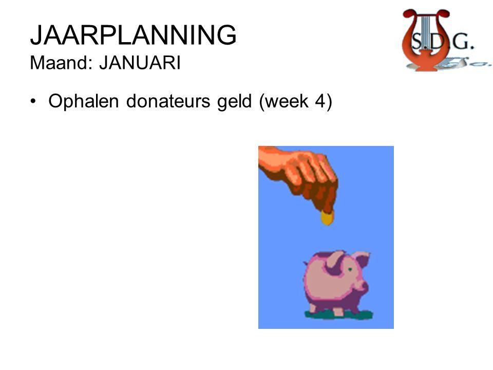JAARPLANNING Maand: JANUARI •Ophalen donateurs geld (week 4)
