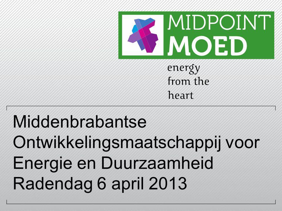 Middenbrabantse Ontwikkelingsmaatschappij voor Energie en Duurzaamheid Radendag 6 april 2013