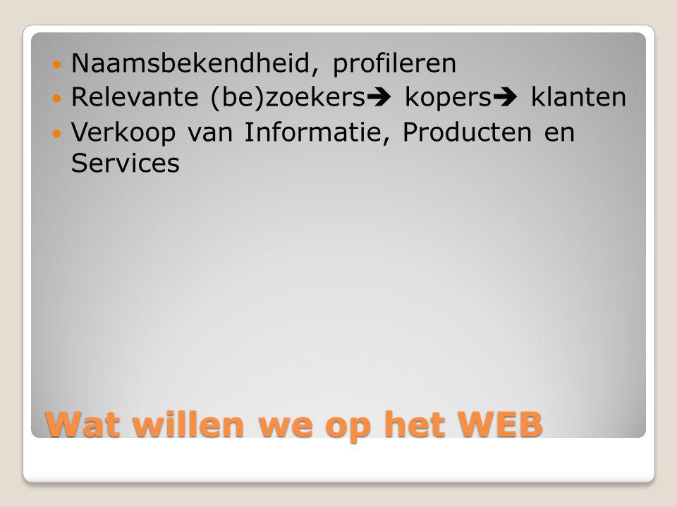 Wat willen we op het WEB  Naamsbekendheid, profileren  Relevante (be)zoekers  kopers  klanten  Verkoop van Informatie, Producten en Services
