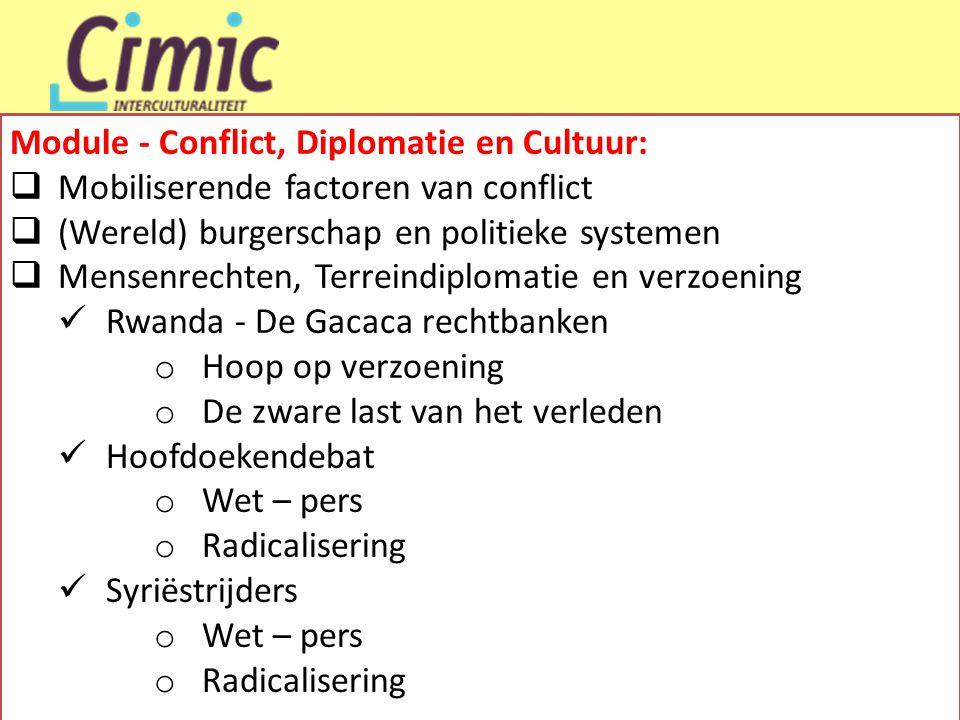 Module - Conflict, Diplomatie en Cultuur:  Mobiliserende factoren van conflict  (Wereld) burgerschap en politieke systemen  Mensenrechten, Terreind