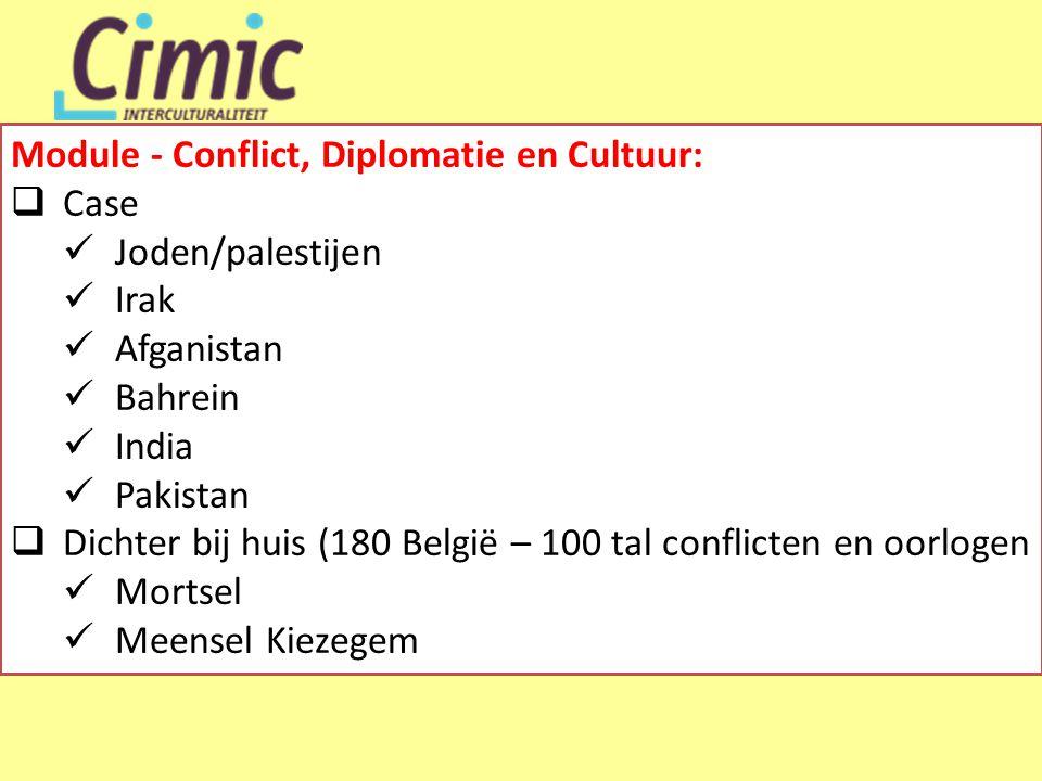 Module - Conflict, Diplomatie en Cultuur:  Case  Joden/palestijen  Irak  Afganistan  Bahrein  India  Pakistan  Dichter bij huis (180 België – 100 tal conflicten en oorlogen  Mortsel  Meensel Kiezegem