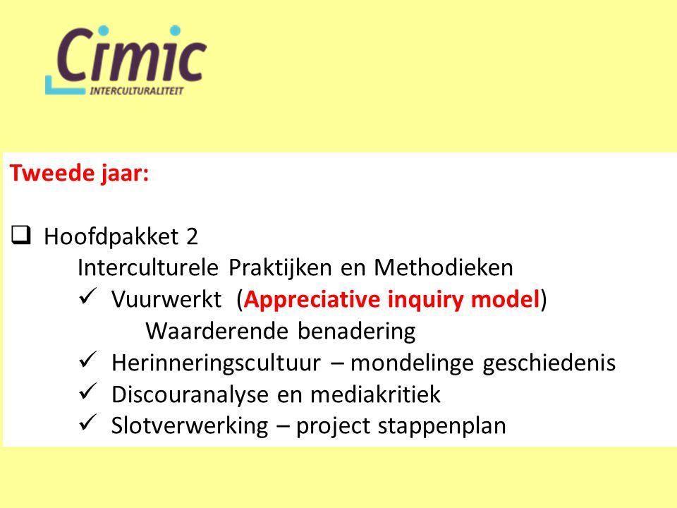 Tweede jaar:  Hoofdpakket 2 Interculturele Praktijken en Methodieken  Vuurwerkt (Appreciative inquiry model) Waarderende benadering  Herinneringscu