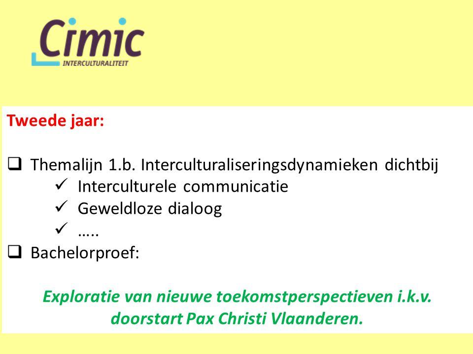 Tweede jaar:  Themalijn 1.b. Interculturaliseringsdynamieken dichtbij  Interculturele communicatie  Geweldloze dialoog  …..  Bachelorproef: Explo