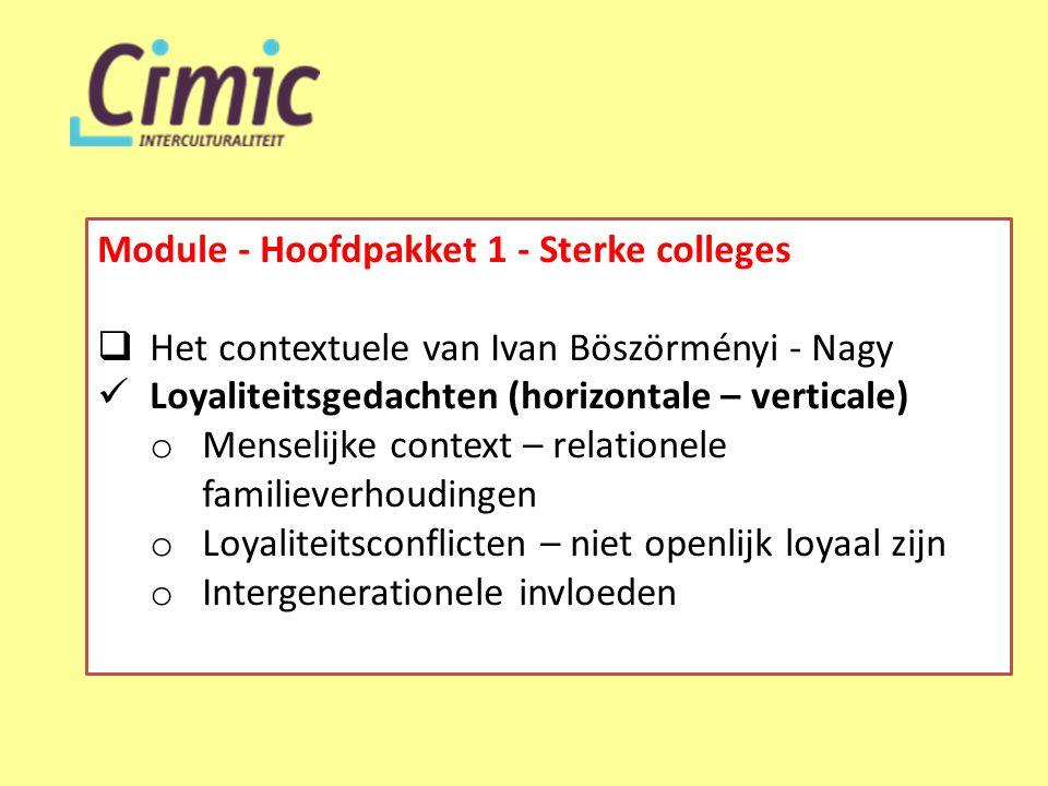 Module - Hoofdpakket 1 - Sterke colleges  Het contextuele van Ivan Böszörményi - Nagy  Loyaliteitsgedachten (horizontale – verticale) o Menselijke context – relationele familieverhoudingen o Loyaliteitsconflicten – niet openlijk loyaal zijn o Intergenerationele invloeden