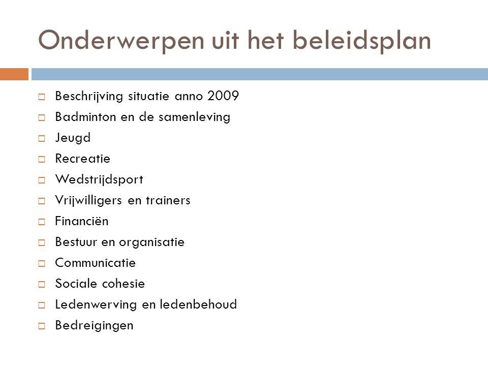 Onderwerpen uit het beleidsplan  Beschrijving situatie anno 2009  Badminton en de samenleving  Jeugd  Recreatie  Wedstrijdsport  Vrijwilligers e