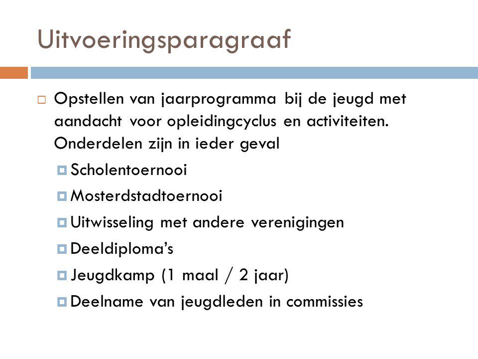 Uitvoeringsparagraaf  Opstellen van jaarprogramma bij de jeugd met aandacht voor opleidingcyclus en activiteiten. Onderdelen zijn in ieder geval  Sc