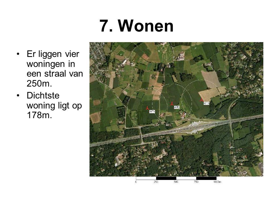 7. Wonen •Er liggen vier woningen in een straal van 250m. •Dichtste woning ligt op 178m.
