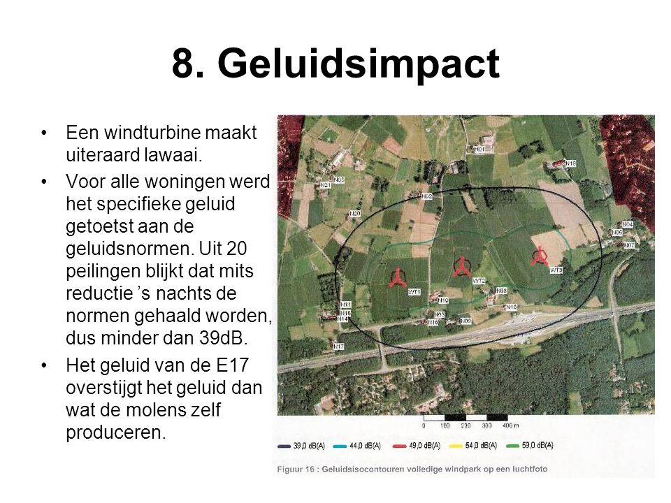 8. Geluidsimpact •Een windturbine maakt uiteraard lawaai. •Voor alle woningen werd het specifieke geluid getoetst aan de geluidsnormen. Uit 20 peiling