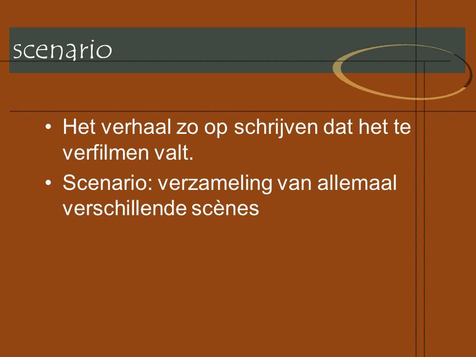 scenario •Het verhaal zo op schrijven dat het te verfilmen valt.