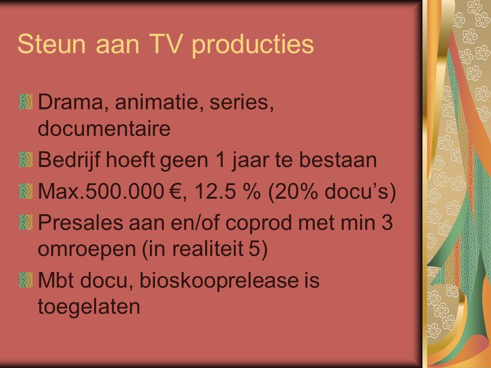 Steun aan TV producties Drama, animatie, series, documentaire Bedrijf hoeft geen 1 jaar te bestaan Max.500.000 €, 12.5 % (20% docu's) Presales aan en/of coprod met min 3 omroepen (in realiteit 5) Mbt docu, bioskooprelease is toegelaten