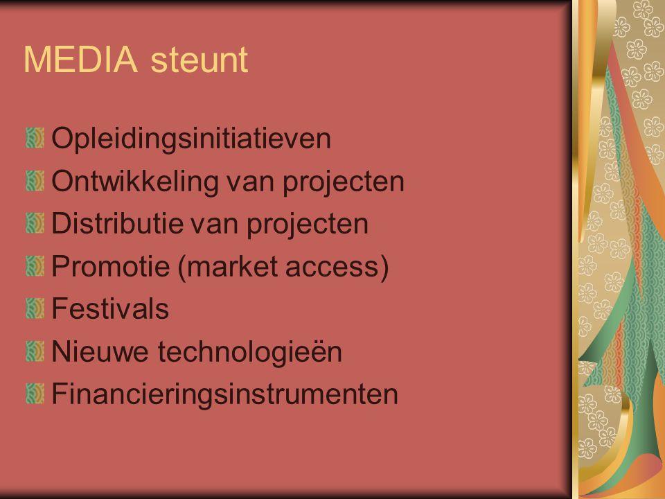 MEDIA steunt Opleidingsinitiatieven Ontwikkeling van projecten Distributie van projecten Promotie (market access) Festivals Nieuwe technologieën Financieringsinstrumenten
