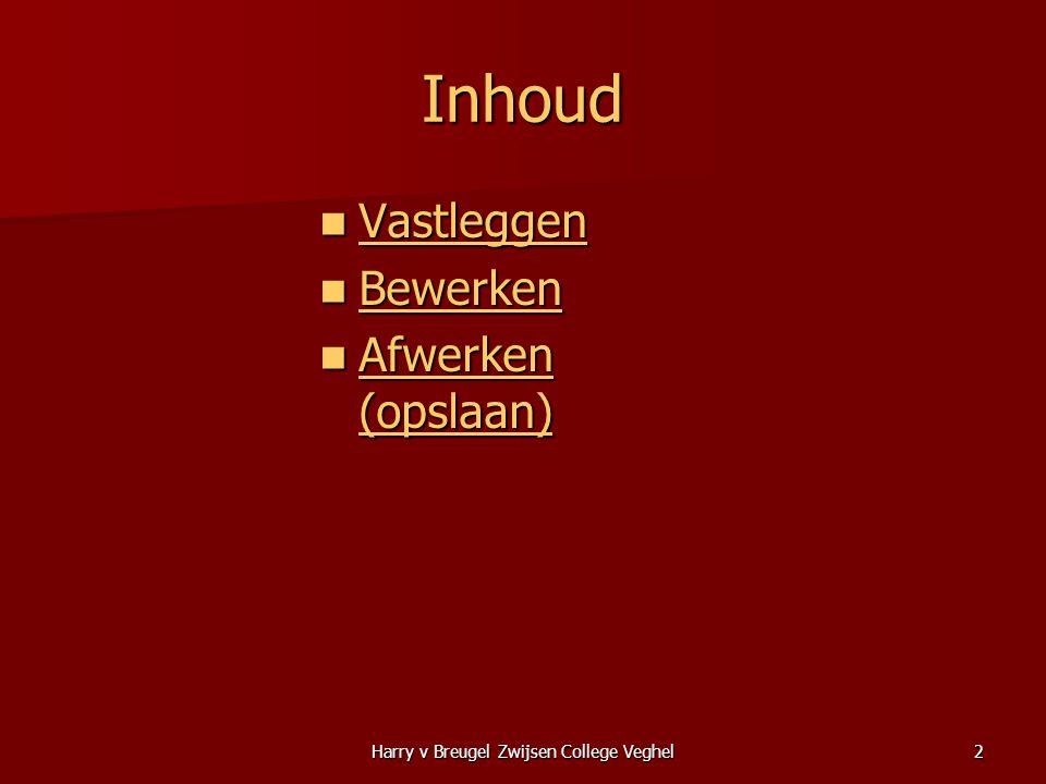 Harry v Breugel Zwijsen College Veghel2 Inhoud  Vastleggen Vastleggen  Bewerken Bewerken  Afwerken (opslaan) Afwerken (opslaan) Afwerken (opslaan)