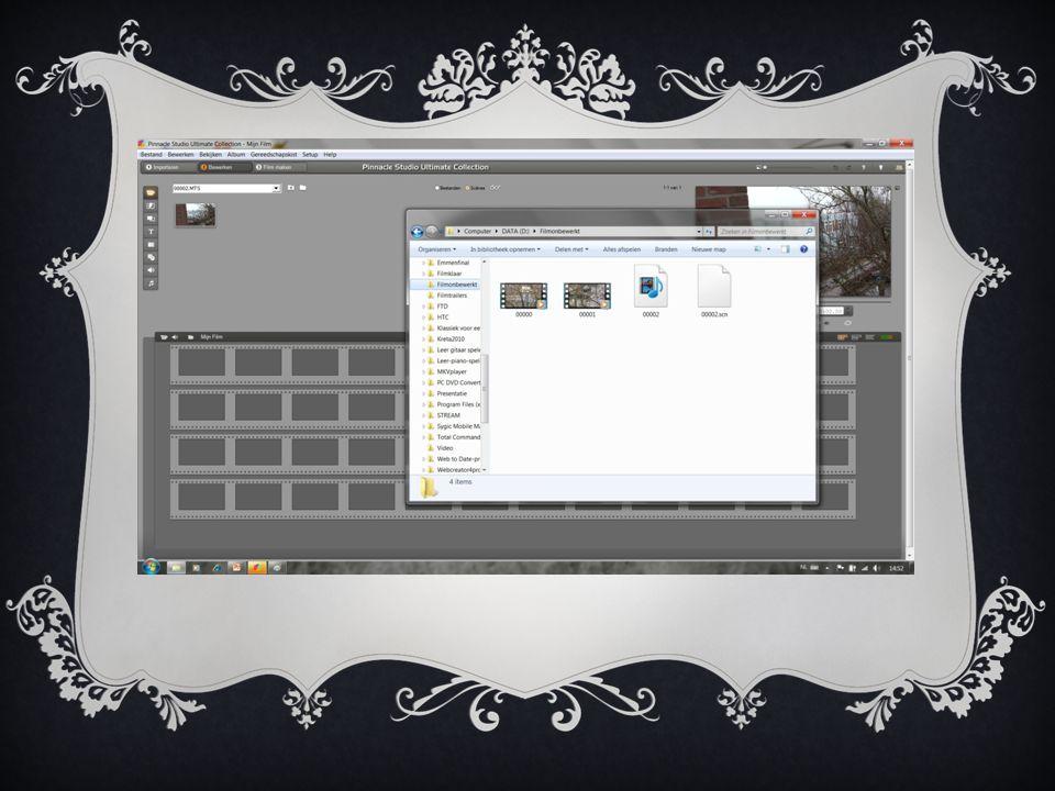 2.FILM BEWERKEN  Na het importeren opent Pinnacle automatisch het tabblad Bewerken  In Pinnacle 14 heeft u dezelfde mogelijkheden als in voorgaande versies om de film te bewerken  Op de site van de PHCC vindt u de vorige presentatie van versie 12 waarin dit wordt beschreven  http://www.xs4all.nl/~phcc/werkgroepen/werkgroeppinnacle/index.html