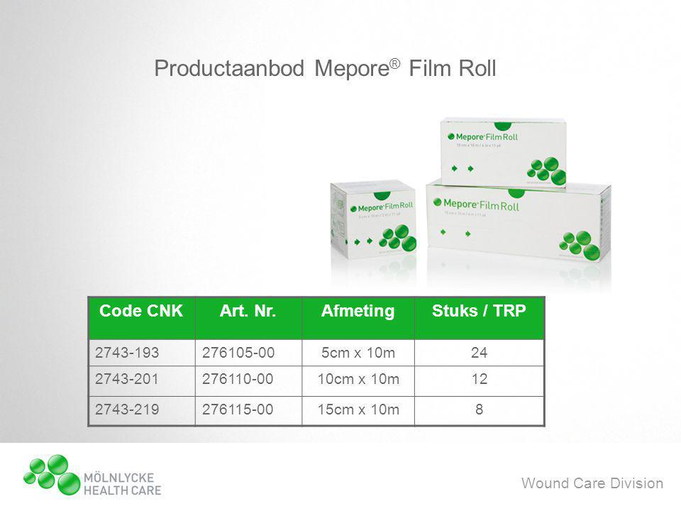 Wound Care Division Productaanbod Mepore ® Film Roll Code CNKArt.