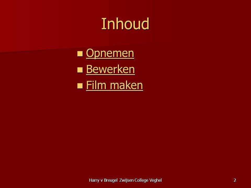Harry v Breugel Zwijsen College Veghel2 Inhoud  Opnemen Opnemen  Bewerken Bewerken  Film maken Film maken Film maken
