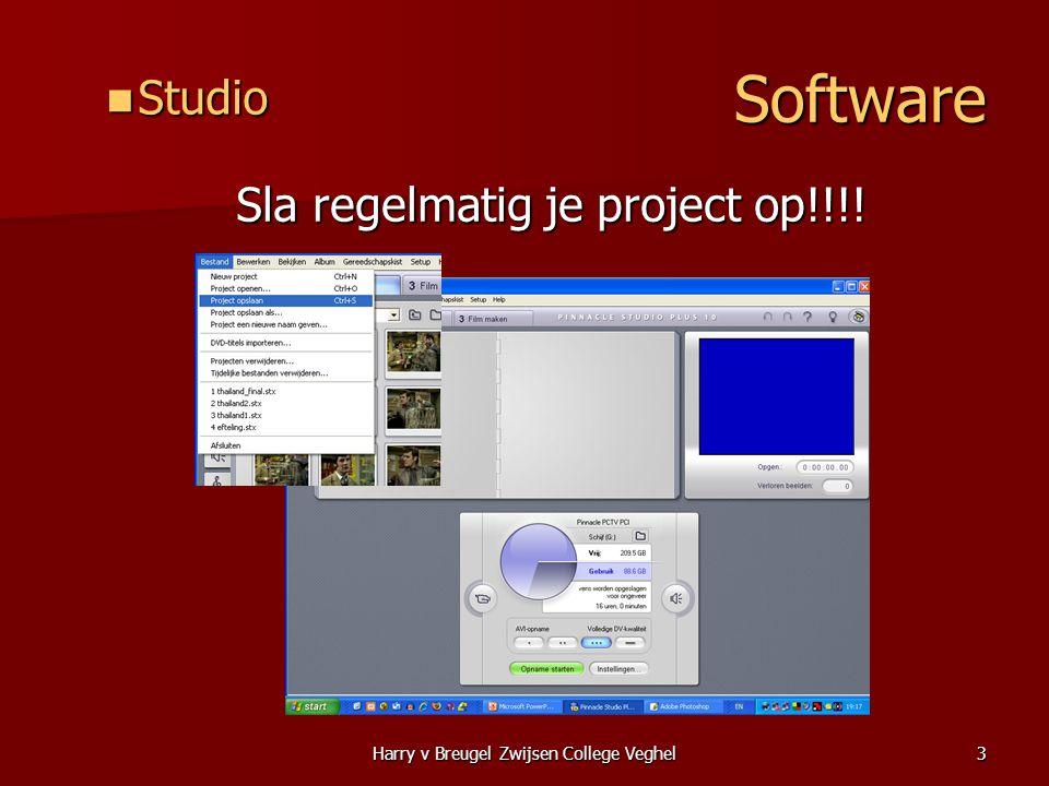 Harry v Breugel Zwijsen College Veghel3 Software  Studio Sla regelmatig je project op!!!.