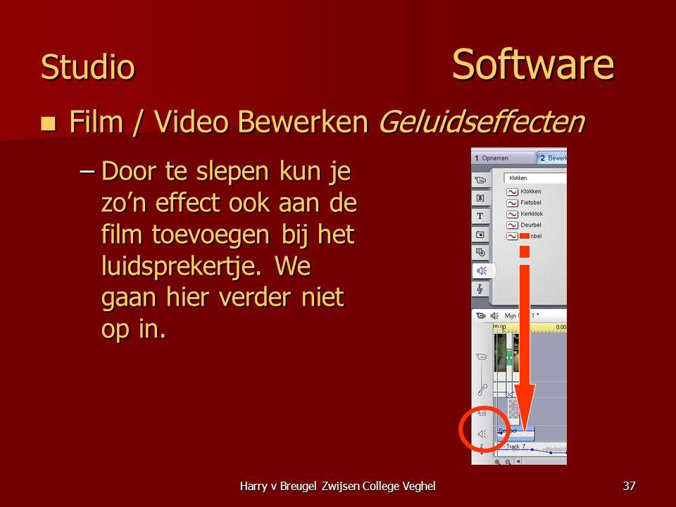 Harry v Breugel Zwijsen College Veghel37 Studio Software  Film / Video Bewerken Geluidseffecten –Door te slepen kun je zo'n effect ook aan de film toevoegen bij het luidsprekertje.