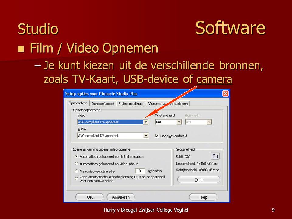 Harry v Breugel Zwijsen College Veghel9 Studio Software  Film / Video Opnemen –Je kunt kiezen uit de verschillende bronnen, zoals TV-Kaart, USB-device of camera