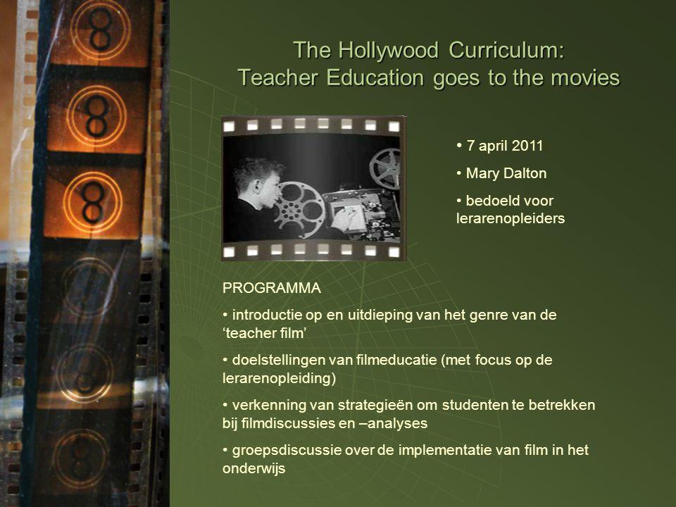Werken met film in het onderwijs: een geschiedenis  jaren 1950: werken met visuele cultuur in het onderwijs  jaren 1950-1990: wisselende aandacht voor visuele cultuur / visuele cultuur in het onderwijs (~ Cultural Studies)  vanaf de jaren 1990: een explosie in het onderzoek: •Beeldvorming van leraren in film •De didactische meerwaarde van film (o.m.