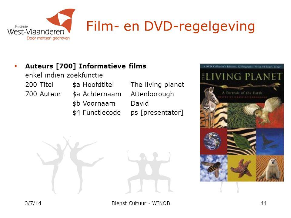 Dienst Cultuur - WINOB3/7/1444 Film- en DVD-regelgeving  Auteurs [700] Informatieve films enkel indien zoekfunctie 200 Titel$a HoofdtitelThe living planet 700 Auteur$a AchternaamAttenborough $b VoornaamDavid $4 Functiecodeps [presentator]