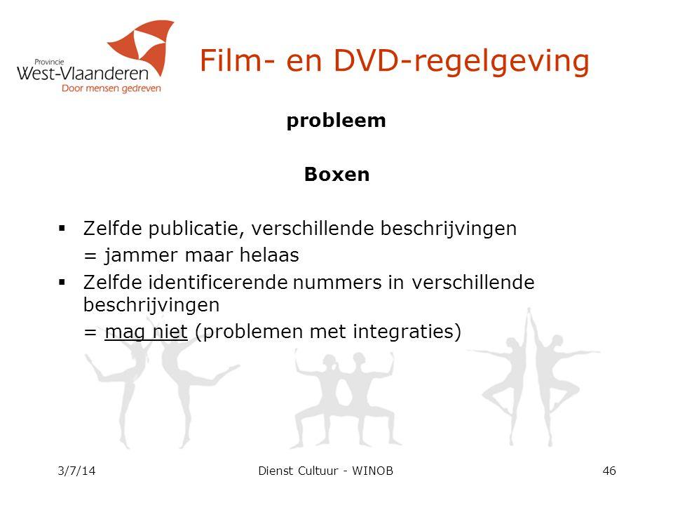 Dienst Cultuur - WINOB probleem Boxen  Zelfde publicatie, verschillende beschrijvingen = jammer maar helaas  Zelfde identificerende nummers in verschillende beschrijvingen = mag niet (problemen met integraties) 3/7/1446 Film- en DVD-regelgeving