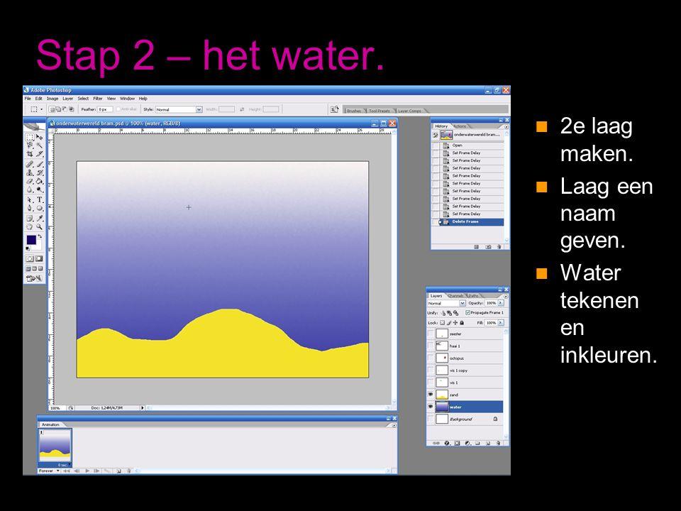 Stap 2 – het water.  2e laag maken.  Laag een naam geven.  Water tekenen en inkleuren.