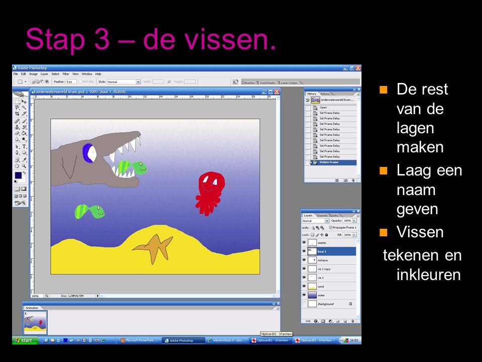 Stap 3 – de vissen.  De rest van de lagen maken  Laag een naam geven  Vissen tekenen en inkleuren