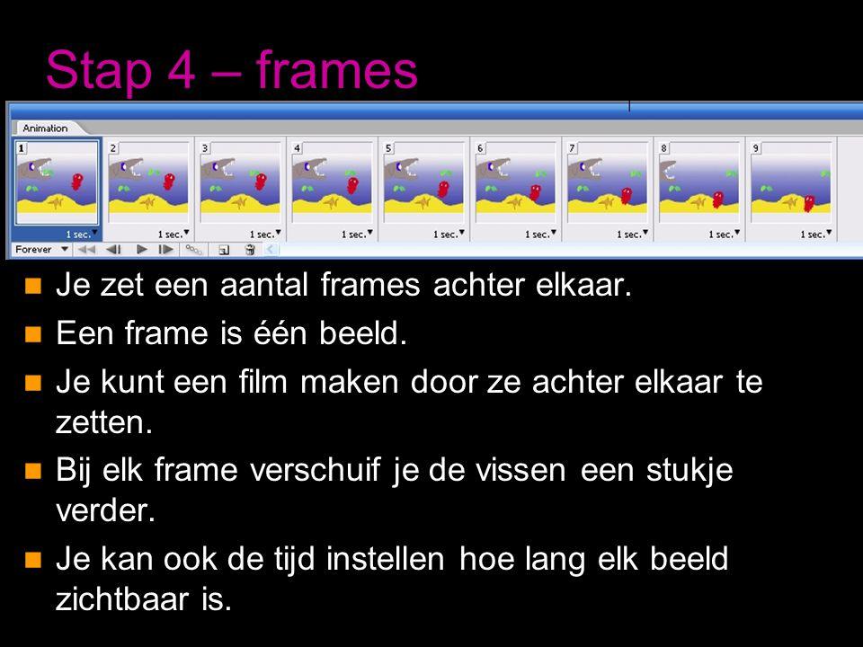Stap 4 – frames  Je zet een aantal frames achter elkaar.  Een frame is één beeld.  Je kunt een film maken door ze achter elkaar te zetten.  Bij el
