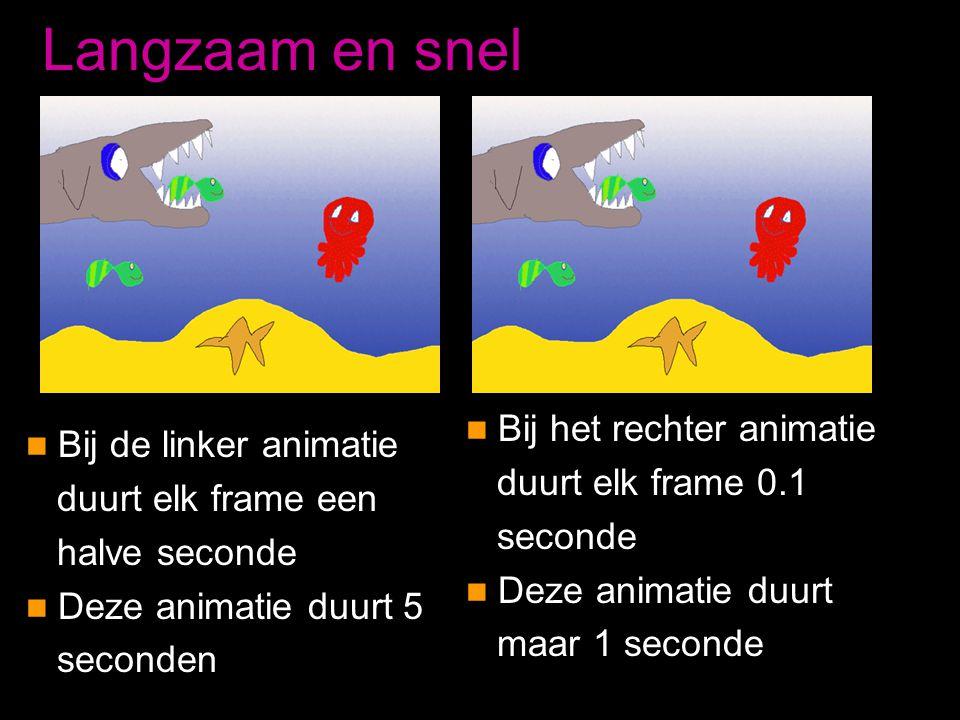 Langzaam en snel  Bij de linker animatie duurt elk frame een halve seconde  Deze animatie duurt 5 seconden  Bij het rechter animatie duurt elk fram