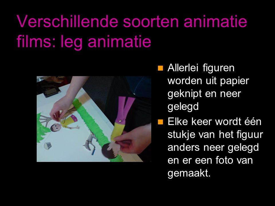 Verschillende soorten animatie films: leg animatie  Allerlei figuren worden uit papier geknipt en neer gelegd  Elke keer wordt één stukje van het fi
