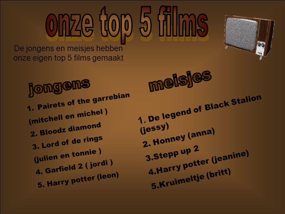 De jongens en meisjes hebben onze eigen top 5 films gemaakt 1.Pairets of the garrebian (mitchell en michel ) 2.