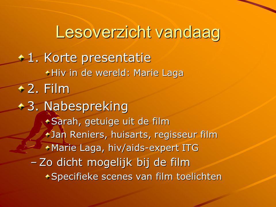 Lesoverzicht vandaag 1. Korte presentatie Hiv in de wereld: Marie Laga 2. Film 3. Nabespreking Sarah, getuige uit de film Jan Reniers, huisarts, regis