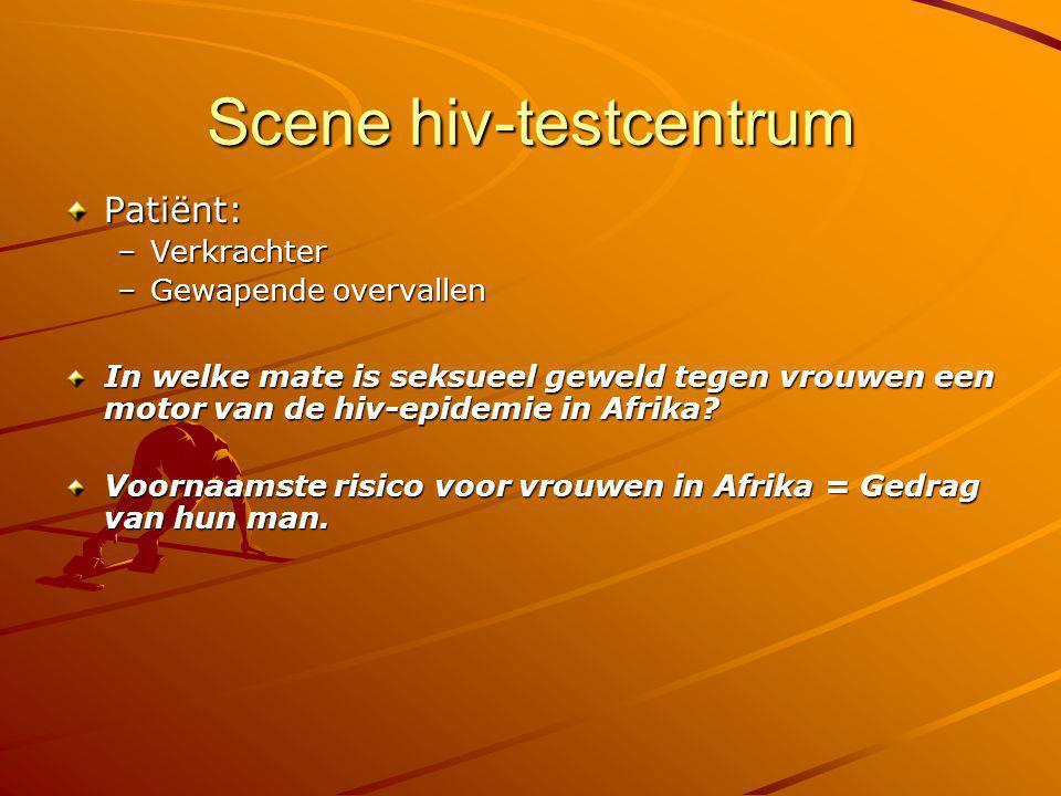 Scene hiv-testcentrum Patiënt: –Verkrachter –Gewapende overvallen In welke mate is seksueel geweld tegen vrouwen een motor van de hiv-epidemie in Afri