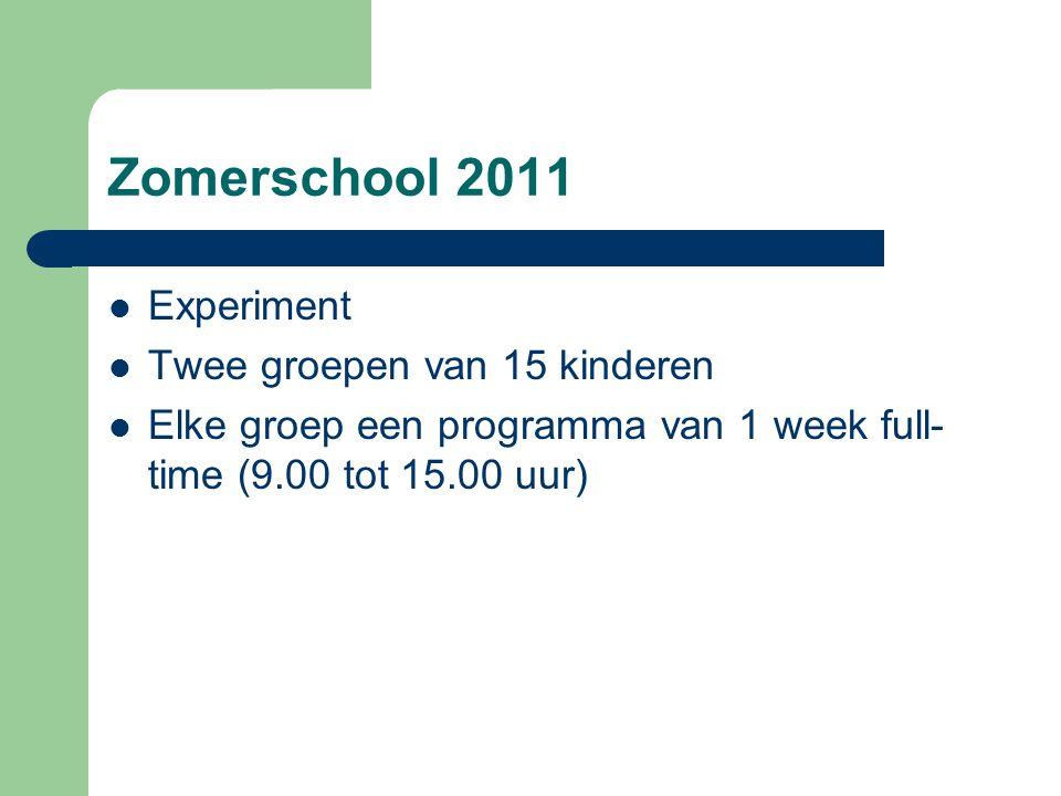 Zomerschool 2011  Experiment  Twee groepen van 15 kinderen  Elke groep een programma van 1 week full- time (9.00 tot 15.00 uur)
