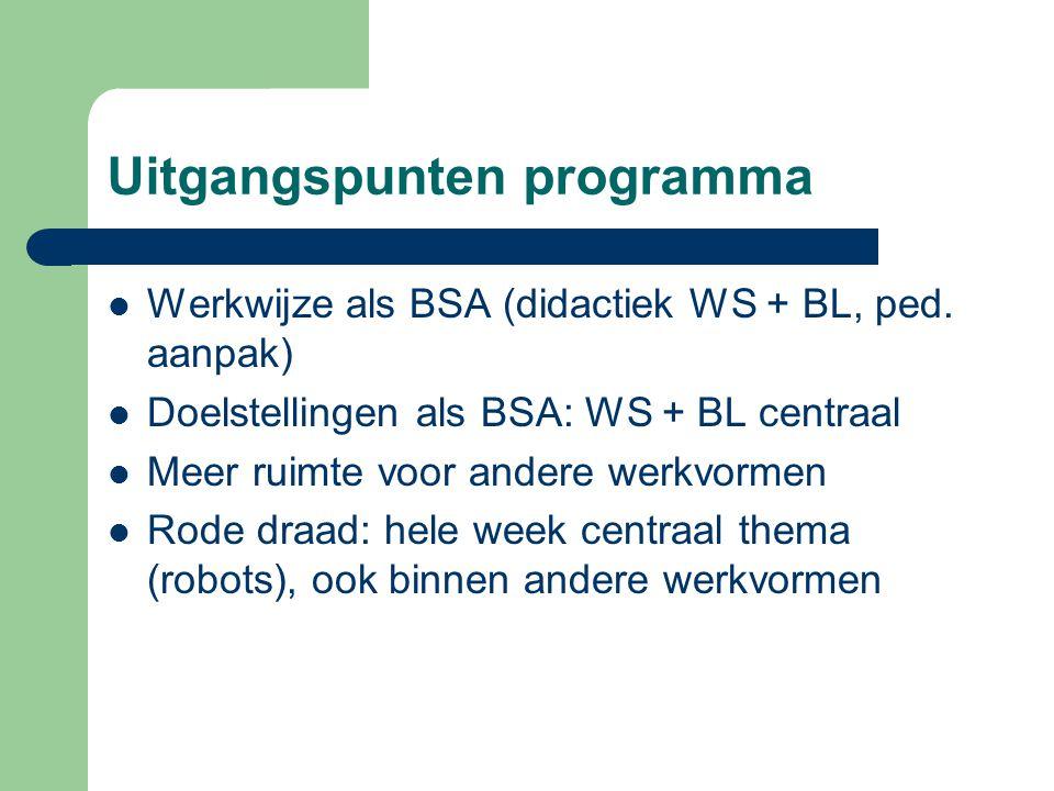 Uitgangspunten programma  Werkwijze als BSA (didactiek WS + BL, ped. aanpak)  Doelstellingen als BSA: WS + BL centraal  Meer ruimte voor andere wer