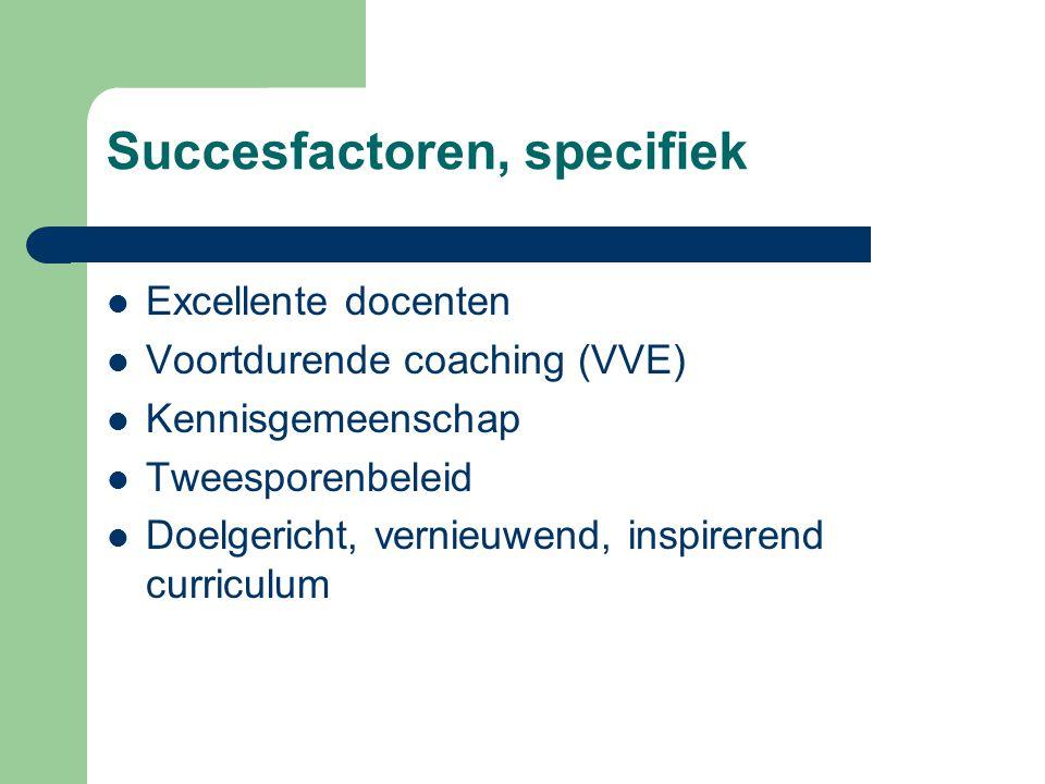 Succesfactoren, specifiek  Excellente docenten  Voortdurende coaching (VVE)  Kennisgemeenschap  Tweesporenbeleid  Doelgericht, vernieuwend, inspi