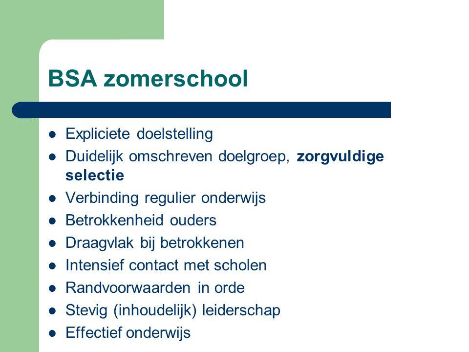 BSA zomerschool  Expliciete doelstelling  Duidelijk omschreven doelgroep, zorgvuldige selectie  Verbinding regulier onderwijs  Betrokkenheid ouder