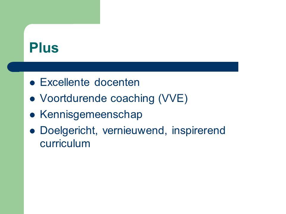 Plus  Excellente docenten  Voortdurende coaching (VVE)  Kennisgemeenschap  Doelgericht, vernieuwend, inspirerend curriculum