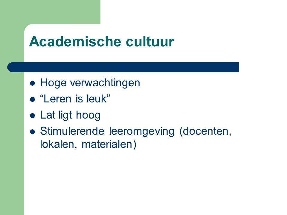 """Academische cultuur  Hoge verwachtingen  """"Leren is leuk""""  Lat ligt hoog  Stimulerende leeromgeving (docenten, lokalen, materialen)"""