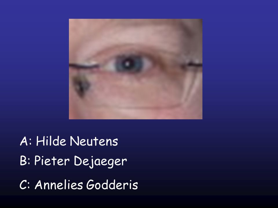 A: Hilde Neutens B: Pieter Dejaeger C: Annelies Godderis