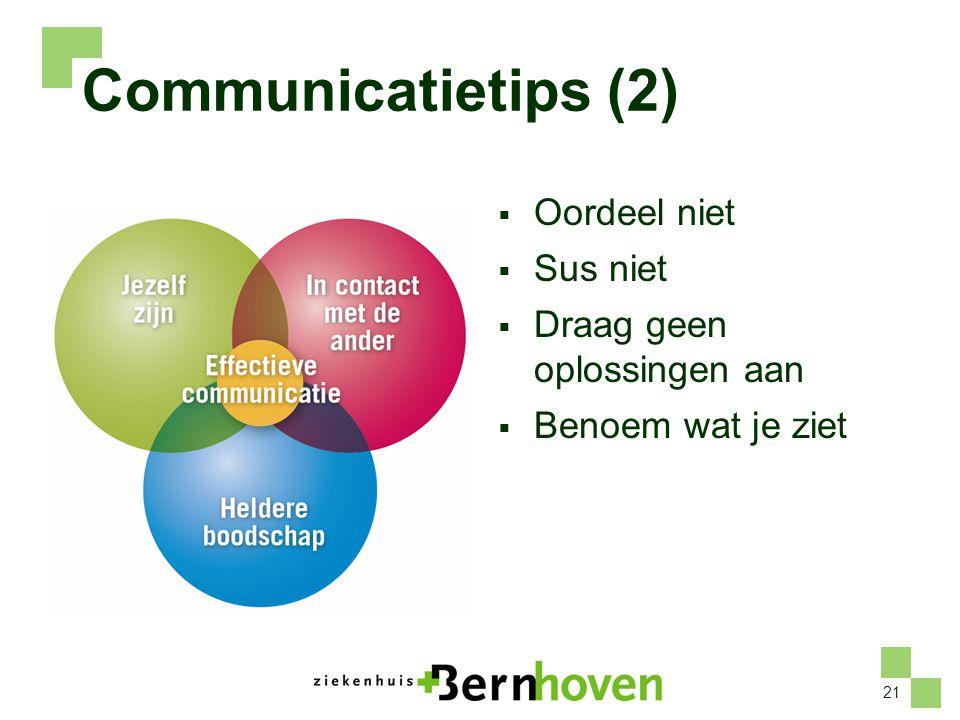 21 Communicatietips (2)  Oordeel niet  Sus niet  Draag geen oplossingen aan  Benoem wat je ziet
