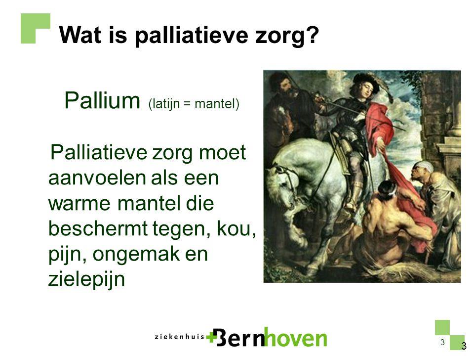 3 Pallium (latijn = mantel) Palliatieve zorg moet aanvoelen als een warme mantel die beschermt tegen, kou, pijn, ongemak en zielepijn 3 Wat is palliat