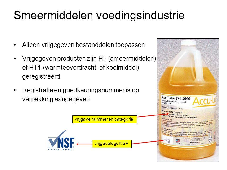 Smeermiddelen voedingsindustrie •Alleen vrijgegeven bestanddelen toepassen •Vrijgegeven producten zijn H1 (smeermiddelen) of HT1 (warmteoverdracht- of koelmiddel) geregistreerd •Registratie en goedkeuringsnummer is op verpakking aangegeven vrijgavelogo NSF vrijgave nummer en categorie